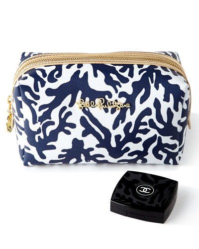 Navy Trunk Show Large Cosmetic Case