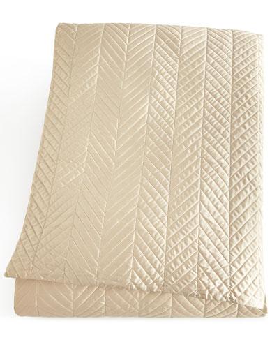 Queen Herringbone-Quilted Coverlet