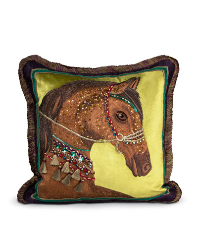 "Horse Pillow, 20""Sq."