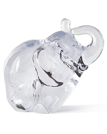 Simon Pearce Glass Elephant Sculpture