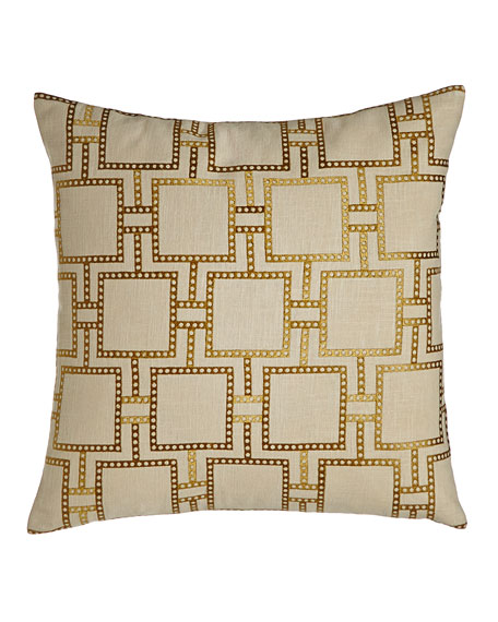 Neimanmarcus Crisanto Dotted-Line Embroidered Pillow