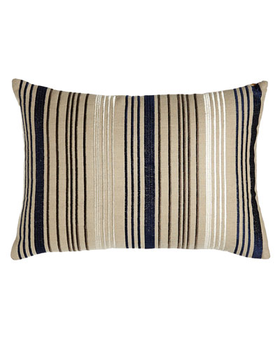 "Mora Embroidered Stripes Pillow, 20"" x 14"""