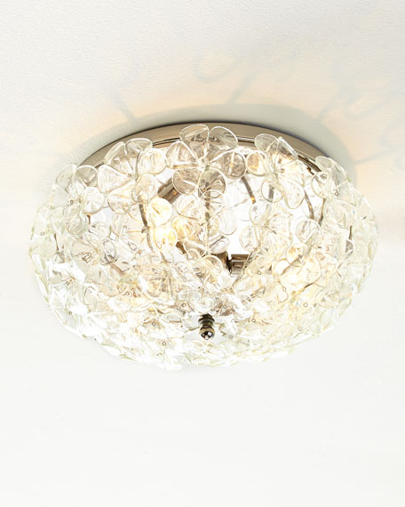 Glass flower 17 flush mount ceiling fixture