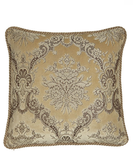 "Marquis Reversible Floral Pillow with Cording, 20""Sq."
