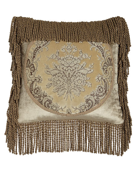 "Marquis Framed Pillow with Bullion Fringe, 18""Sq."
