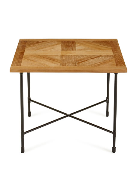 Avery neoclassical teak outdoor side table for Teak side table outdoor