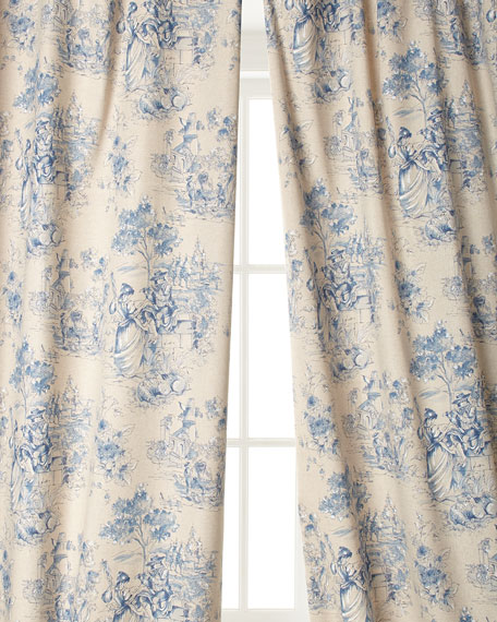 "Two 108""L Toile Curtains"