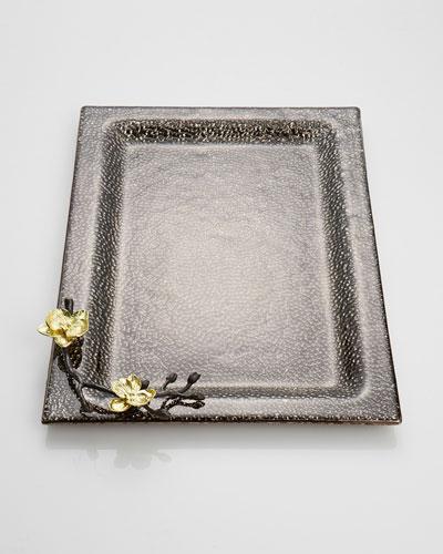 Gold Orchid Glass Dip Platter