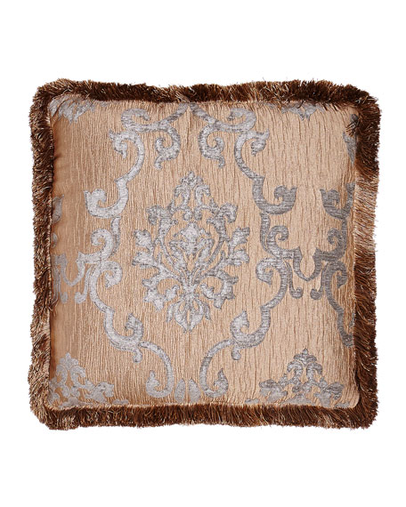 "Grace Ruched Velvet Pillow with Damask Center, 20""Sq."