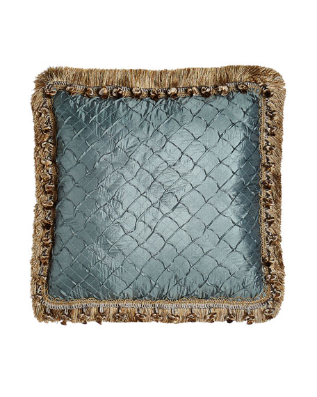 "Grace Teal Diamond Pillow with Fringe & Onion Trim, 17""Sq."