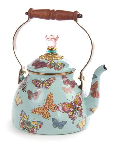 MacKenzie-Childs Butterfly Garden Sky 2-Quart Tea Kettle