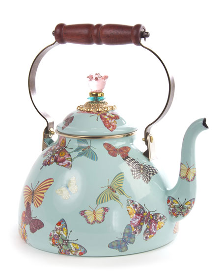 MacKenzie-Childs Butterfly Garden Sky 3-Quart Tea Kettle