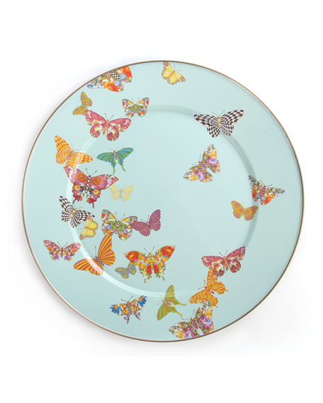 MacKenzie-Childs Sky Butterfly Garden Serving Platter