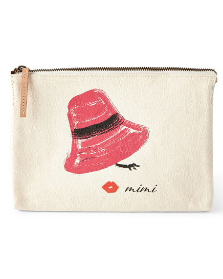 Pink Hat Large Personalized Cosmetic Bag