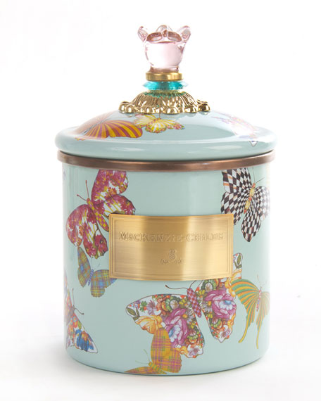 MacKenzie-Childs Sky Butterfly Garden Small Canister