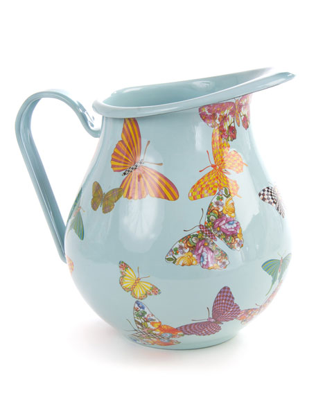 MacKenzie-Childs Sky Butterfly Garden Pitcher