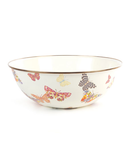 MacKenzie-Childs White Butterfly Garden Extra-Large Bowl