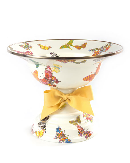 White Butterfly Garden Large Compote