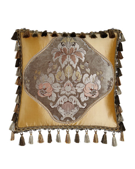 French Chateau Silk-Framed Floral Pillow with Tassels, 20