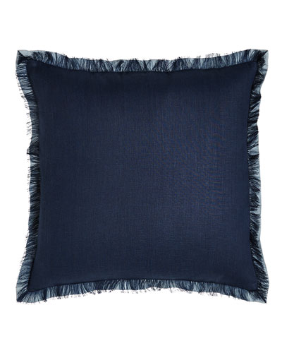 Navy Fringed Linen Pillow