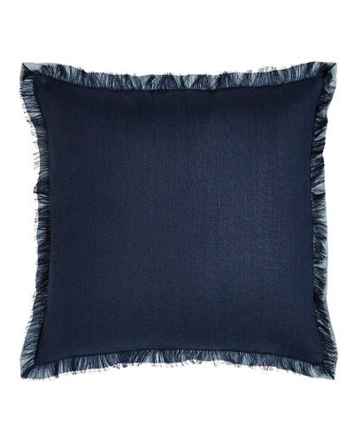 Navy Fringed Linen Pillow
