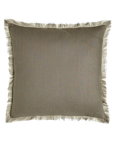Slate Fringed Linen Pillow