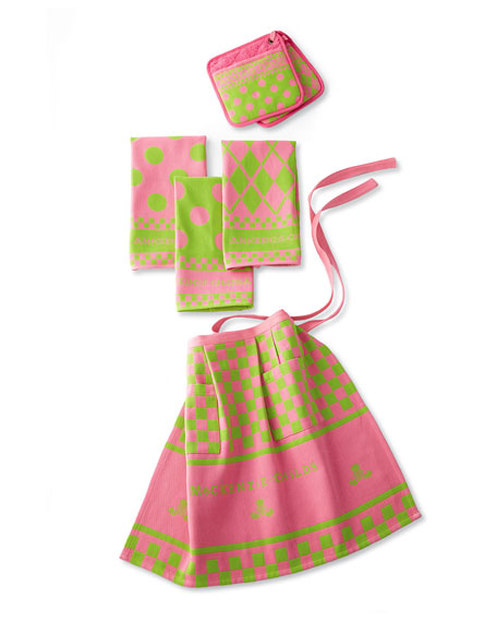 MacKenzie-Childs Pink & Green Kitchen Linens Set