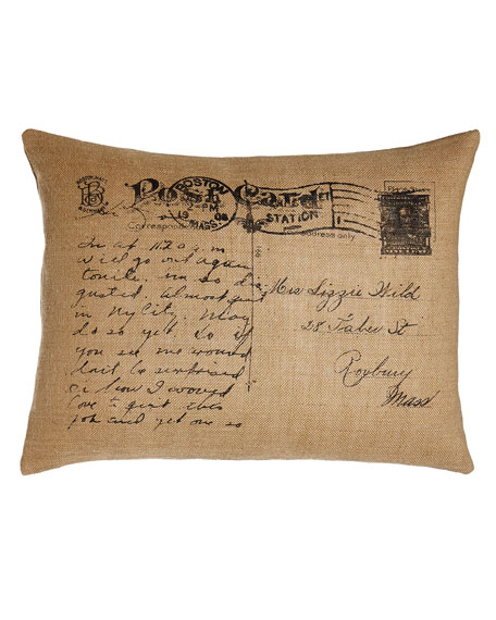 "Meadow Wreath Jute Burlap Postcard Pillow, 18"" x 24"""