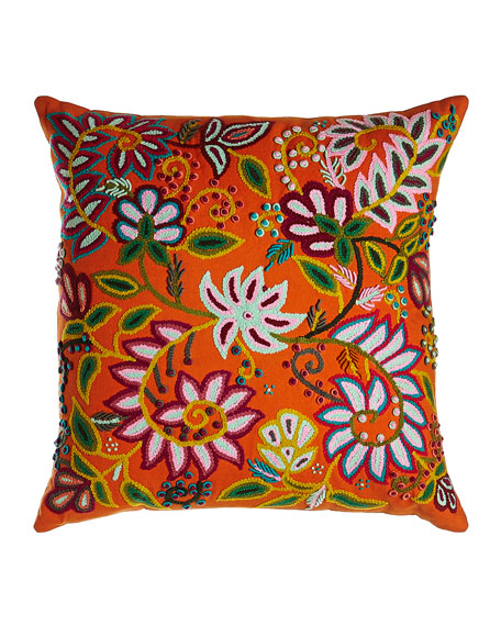 "Embroidered Floral Pillow, 20""Sq."