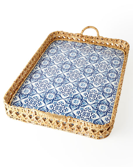Caned Tile Print Tray