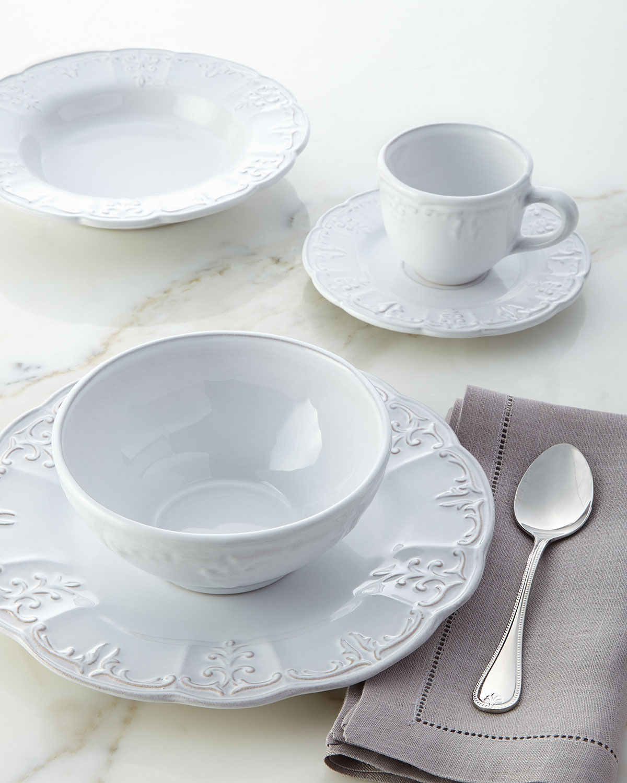20 Piece White Fleur De Lis Dinnerware Service
