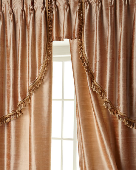 "Two 52""W x 108""L Josephine Curtains with Tassel Fringe at Bottom"