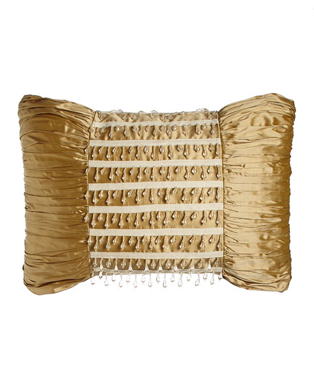 """Silk Pillow with Bead Dangles, 13"""" x 18"""""""