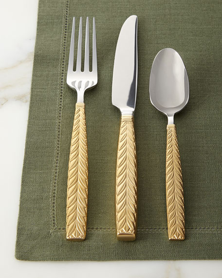 5 Piece Feather Gold Accent Flatware Place Setting