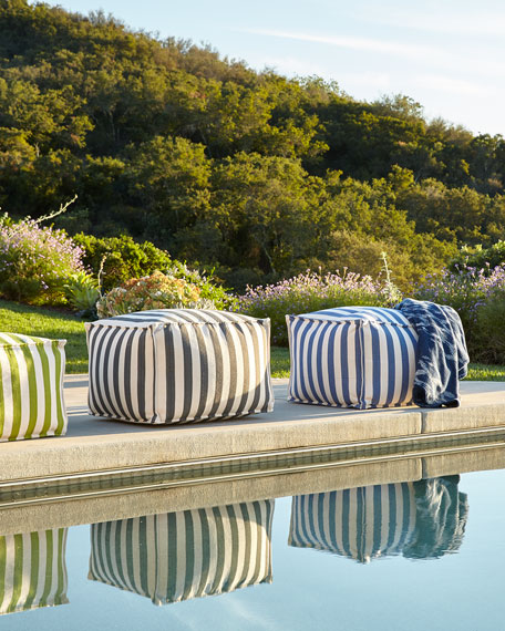 Fresh American Denim/Ivory Indoor/Outdoor Beanbag Pouf