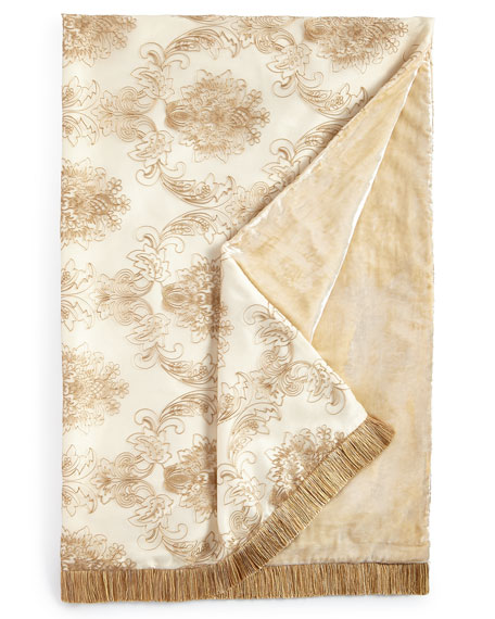 Isabella Collection Catania Throw with Embroidered Sheer Overlay,