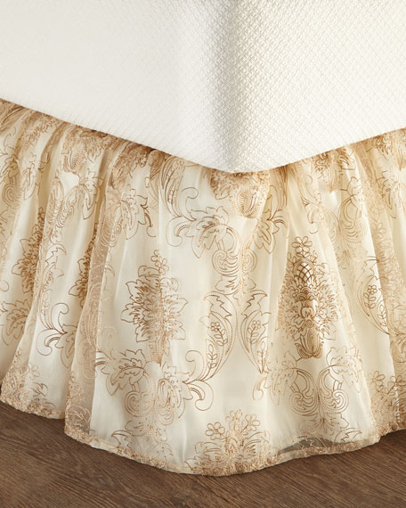 Catania King Embroidered Sheer Dust Skirt