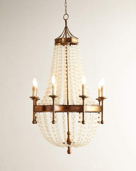 Frosted crystal bead 8 light chandelier