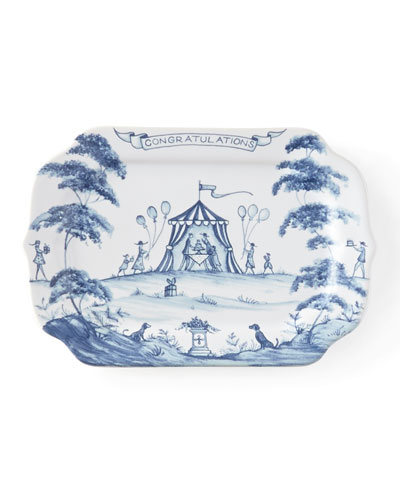 "Country Estate Delft Blue ""Congratulations"" Gift Tray"