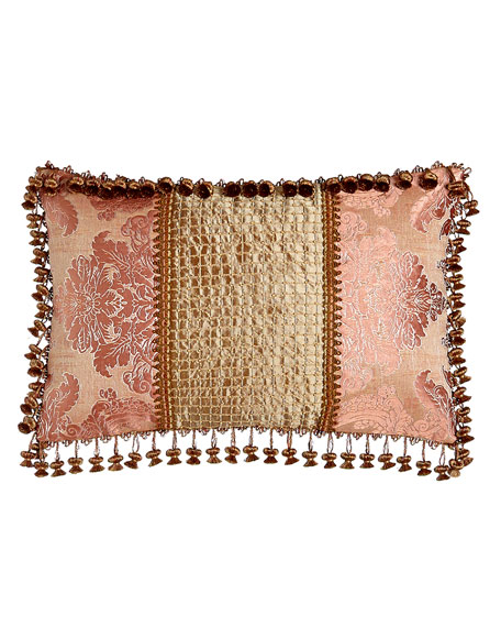 "Rue de L'amour Pillow with Beaded Silk Center, 15"" x 23"""