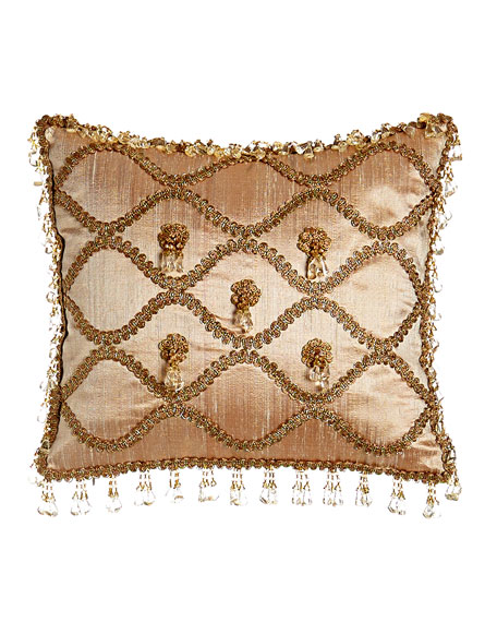"Rue de L'amour Silk Pillow with Rosettes, 13"" x 14"""
