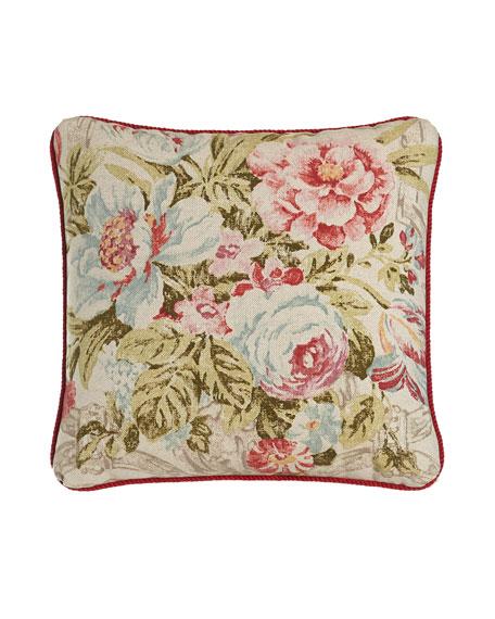 "Bristol Floral Pillow, 18""Sq."