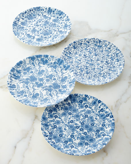 Four Blue & White Melamine Plates