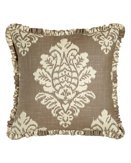 Collette Ikat Pillow with Ruffle, 18