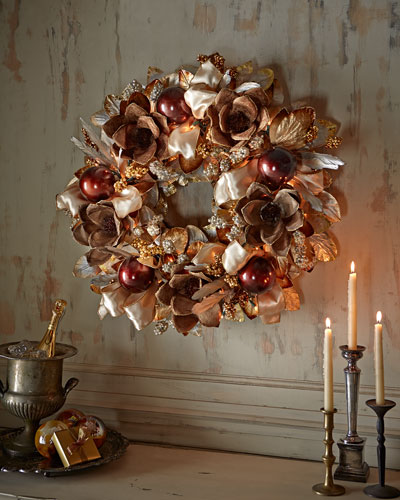"Pre-Lit Haute Chocolate 28"" Christmas Wreath"