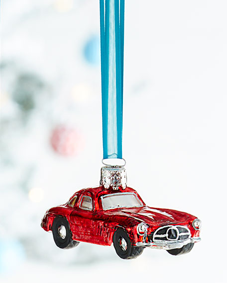 Red mercedes christmas ornament for Mercedes benz christmas ornament