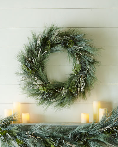 "Beaded Pine 32"" Christmas Wreath"