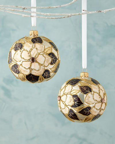 Beige Ball with Flowers Christmas Ornament, Set of 2