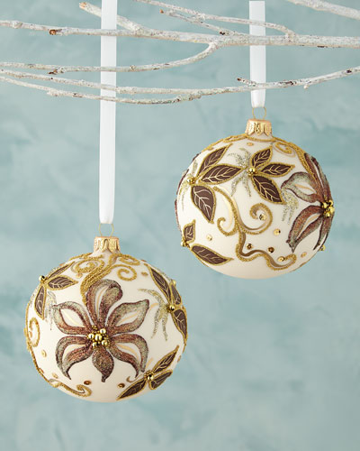 Vanilla Ball with Flowers Christmas Ornament, Set of 2