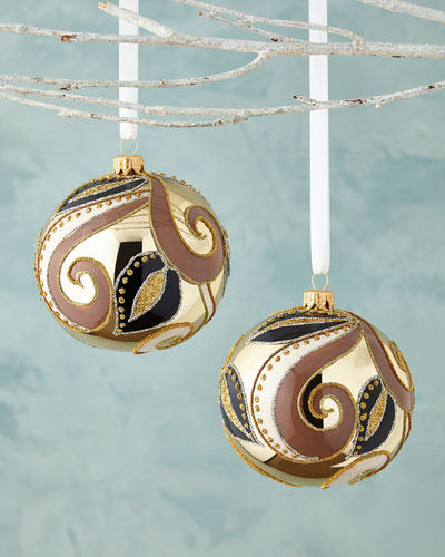Golden Ball with Leaves Christmas Ornament, Set of 2